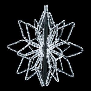 耐水65cm540球広角型LEDホワイトロープライト立体スノーフレーク