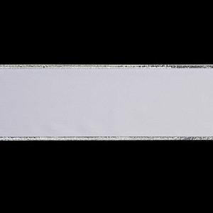 75mm幅ホワイトサテンシルバーエッジリボン